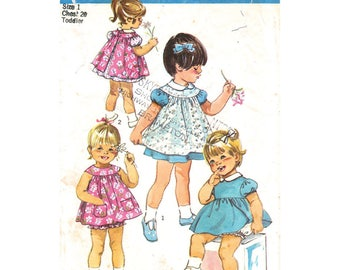 Girls Dress Pinafore Panties Pattern Simplicity 9289 Sundress Sunsuit Toddler Size 1