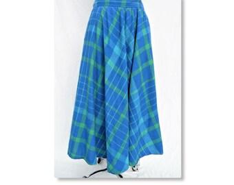 "Vintage 80's Liz Claibourne bright blue and green plaid long skirt- 30"" waist- with pockets- vintage size 14- cerulean blue"