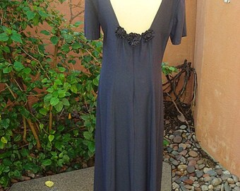 Vintage  1980s Navy Blue Maxi Dress Low Back with Roses by Wild Rose Size 12