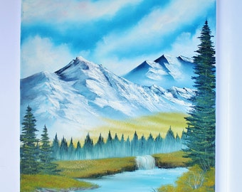 Bob Ross Style Alaska Wilderness Landscape Mountain Lake Oil Painting Evergreen Trees, 16 x 20 Stretched Canvas