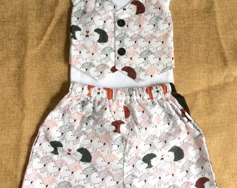Hedgehog Bow tie Vest Onesie with Matching Shorts Set Size 6-9 Mos Ready to Ship
