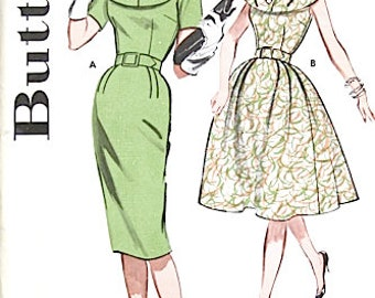 Uncut Butterick 9695 Dress Pattern Factory Folded  NO ENVELOPE Early 1960s Vintage Sewing Pattern  Bust 34
