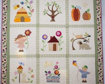 "10% OFF - Nursery decoration wall hanging Quilt hand made applique ""Secret Garden"""