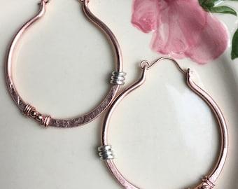 Copper Hoop Earrings, Rustic Earrings, Hammered Copper, Boho Earrings, Bohemian