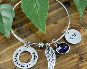 Sister of an Angel, Sister Angel Bangle Bracelet, Sister Forever, Bereavement Jewelry, Hand Stamped Bracelet, Sister Loss, Sister Memorial