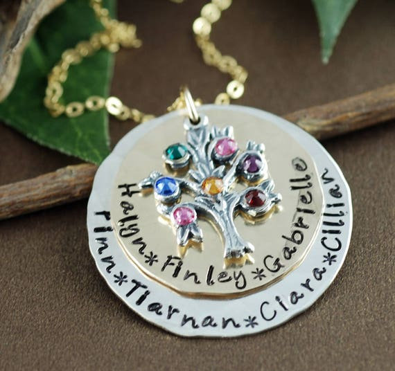 Grandmother Necklace, Family Tree Necklace, Hand Stamped Necklace, Tree of Life Pendant, Name Necklace, Grandma Necklace, Mothers Day Gift