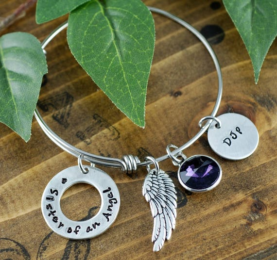 Sister of an Angel, Sister Angel Bangle Bracelet, Sister Forever, Bereavement Jewelry, Hand Stamped Bracelet, Sister Loss, Sister Memorial