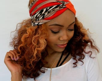 Turban Twist Headband Wide Head Wrap Orange Black Paris Couture Chain Print Strech Yoga Headband Qualiy Stretch Jersey - Choose Your Color