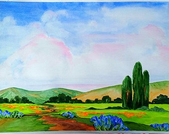 Impressionist 18 x 24 Watercolor Painting CALIFORNIA Plein Air POPPIES And LUPINE Landscape Art Lynne French