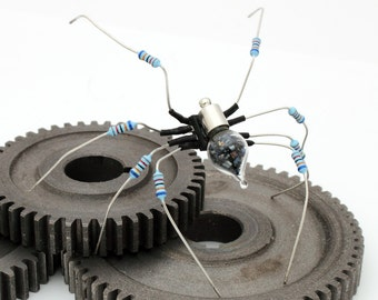 Unique Steampunk Recycled  Rearing Spider- Hercules- Upcycled blue resistor chip electrical component spider desk sculpture- gifts for him