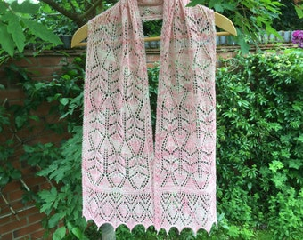 Palest pink and cream cashmere and silk hand knitted lace scarf