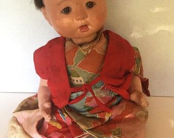 Soulful Expression GOFUN ICHIMATSU DOLL Japan/1940s/ Silk Kimono/ Needs T L C/ Glass Eyes/A Vintage Revolution