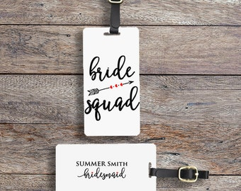 Bride Squad Luggage Tag Metal Tag Single Tag or Set Available  Bridesmaids, Maid or Matron of Honor, Man of Honor wedding party gift
