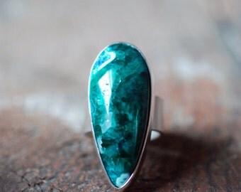 Juniper Ring Dioptase Chrysocolla Sz 9