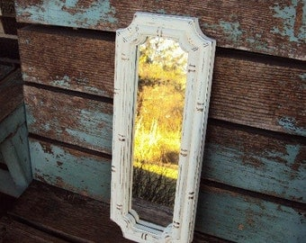 Vintage Shabby Chic Mirror ornate Baroque Frame French Farmhouse Chic Distressed Chippy Paint in Antique White Faux Bamboo Vanity Tray
