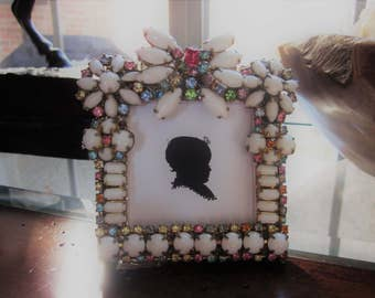 Repurposed Vintage Jewelry Picture Frame Milk Glass Rhinestone Unique Assemblage One of a Kind!