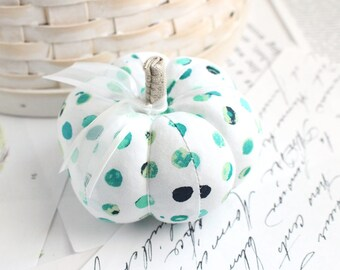 Cute Blue and Green Polka Dot Cotton Pumpkin Pincushion