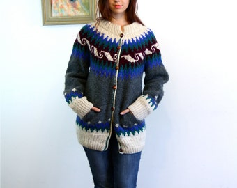 Vintage 70s Ethnic Cable Hand Knit Wool Sweater Blue Wave Tribal Pattern Cardigan Wood Button 1970s Big Boxy Gray Cream Jumper INTI Ecuador