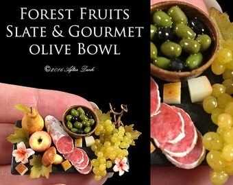 Luxury Forest Fruits Slate, with a Tiny Elisabeth Causeret bowl - Artisan Handmade Miniature in 12th scale After Dark miniatures.