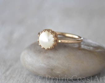 Gold Pearl Ring in 14k Gold-Filled - Swarovski Pearl Ring - Handcrafted Artisan Ring