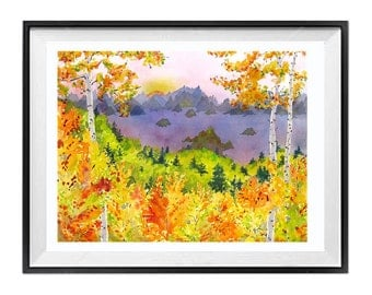 Colorado Art Prints Aspen forest watercolor painting Colorado Prints Colorado State prints Colorado Watercolor Landscape / WatercolorByMuren