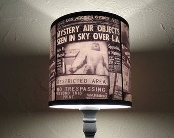 Area 51 newspaper lamp shade - lighting, drum lampshade, halloween decor, aliens, Roswell, scifi, Science fiction, geekery,Spooky Shades,Ufo