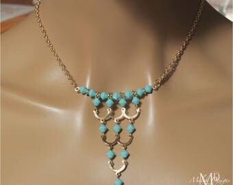 Turquoise Czech Glass Boho Chain Necklace