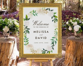 Romantic Woodland Wedding Welcome Sign (Fully Customized for you) No headaches!