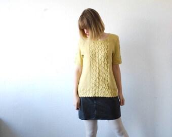 80s hand knit mustard sweater. oversized sweater. pointelle knit top - medium