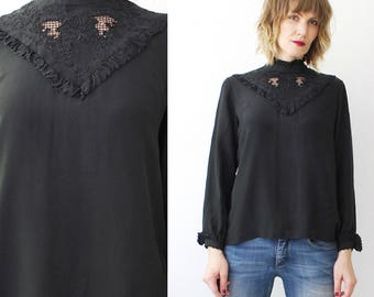 70s 80s black silk blouse. Victorian blouse. hand embroidered blouse - small