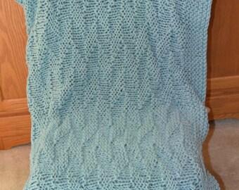 Seafoam Adult Afghan~Lap Throw~Knit
