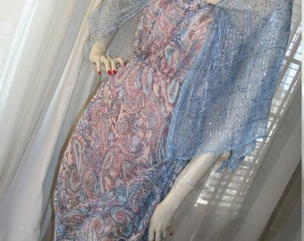 Edwardian Style Replica Frock Ethereal Orig Design Size M Pale Sparkly Blue Paisley Chiffon