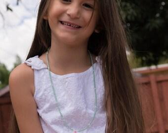 Little Girls Tassel Necklace/Childs Tassel Necklace/Little Girl Jewelry/Girls Crystal Necklace/Toddler Necklace/Flower Girl Gift/ Pink
