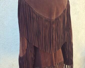 Vintage 1960's chocolate brown suede fringe Western jacket sz. M (women)