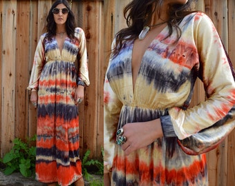 Gypsy Eyes Handmade Vintage Inspired BIANCA MAXI Dress in Tie Dye VELVET