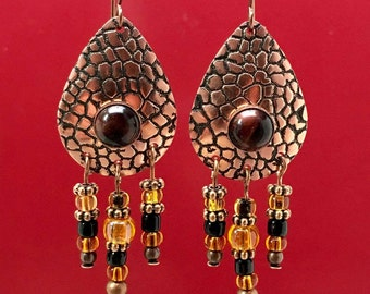 Etched copper teardrop boho dangles with red tiger eye cabochons, earthy earrings natural look holiday earrings Christmas gifts for her