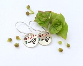 Bird and flower earrings - Dainty sterling silver bird earrings, lightweight earrings, gift for her, mom jewelry, tiny silver bird earrings