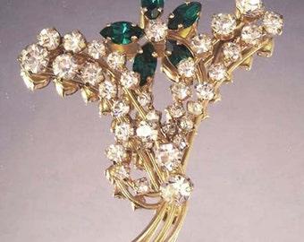 Vintage Floral Brooch / Rhinestone Floral Brooch / Green Rhinestone Brooch / Green Floral Brooch / Austrian Crystal Floral Brooch