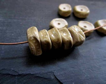 Beads Ceramic 'Light Honey Glazed Pinched Track' Patterned Beads Handmade Clay Pottery 508