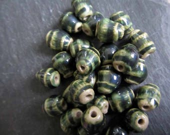 Dark Green Beads Ceramic Glossy Metallic Green Track Ridged Patterned Beads Handmade Clay Pottery 556