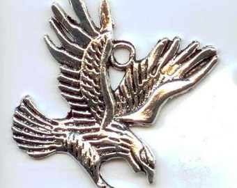 Silver Eagle charm - lead and cadmium free - 1 piece