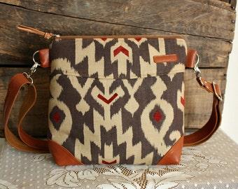 IKAT crossbody Purse handbag satchel Leather trim -- Ready--