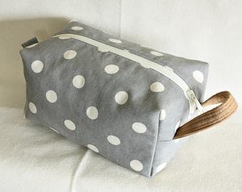 Polka Dot / medium toiletry bag/  pouch/ travel kit/ - ready