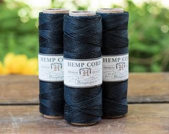 Black Hemp Cord,  0.5mm, 10lb,  Jewelry Cord,  Hemp Twine, Black Beading Cord -TW18