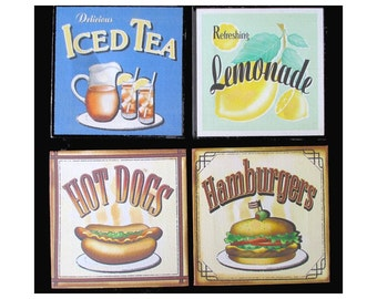 Food Paintings On Canvas * Hamburger * Hot Dog * Lemonade * Iced Tea * Kitchen Wall Hangings * Set Of Four * Small Art Format