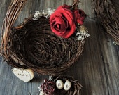 Rustic Flower Girl BASKET & Ring Bearer PILLOW Matching Set Personalized Twig Bird Nest Woodland Wedding Nature Egg Custom Alternative Decor