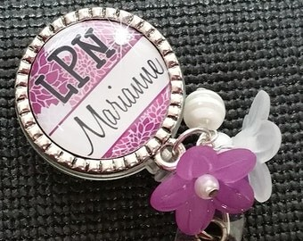 Personalized ID Badge Reels- Rn Lvn Cna - Medical - Beautiful Purple and White Mums Design with Swavorski Rhinestone