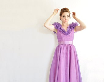 purple ruffle shoulder party dress . 1980 sheer grape belted gown .small