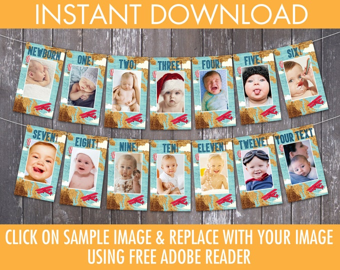 Aviator, Airplane First Year Photo Banner | 12 Month Photo Banner | Aviator Birthday, Airplane Party | INSTANT Download DIY Printable PDFs