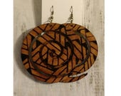 WoodSpiral Bold Circular Wood Stained and Burned Forward Fashion Earring – #mPER37